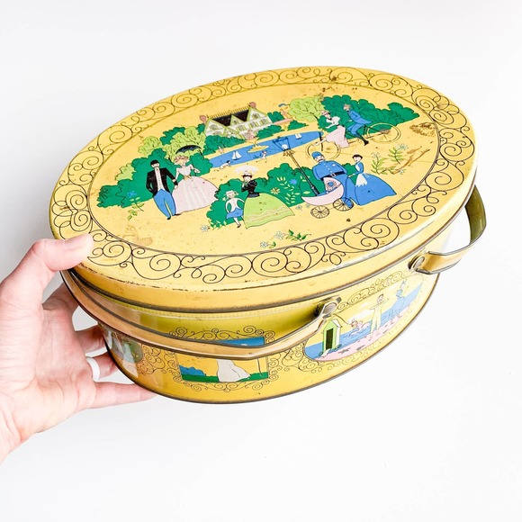 Vintage Yellow Tin with Lid & Handles